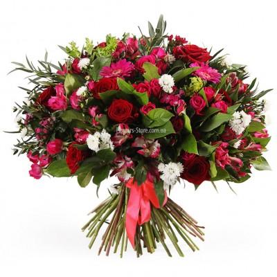 """Букет """"Скарлетт"""" -  розы, герберы, астры и альстромерии - цветы - Днепр"""