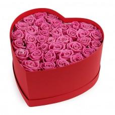 Букет из розовых роз в коробке сердце №37