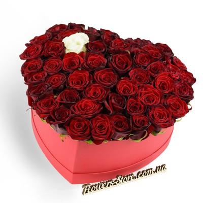 Сердце из 50 красных роз и 1 белой розы в коробке