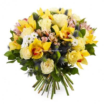 Букет: 21 белая роза, 15 желтых орхидей и альстромерия  - цветы - Днепр