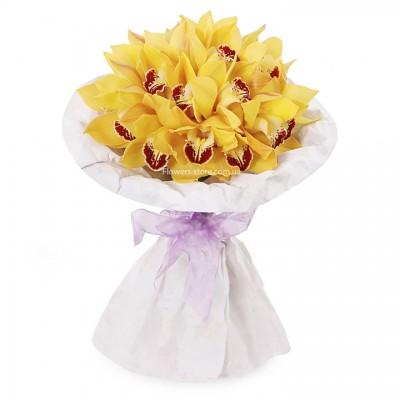 Букет: 25 желтых орхидея цимбидиум  - цветы - Днепр