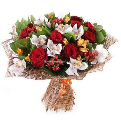Букет: 11 белая роза, 14 желтых орхидей и  10 альстромерий - цветы - Днепр