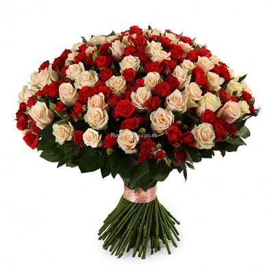 Букет из 101 розы микс - сорт Талея и Мирабель