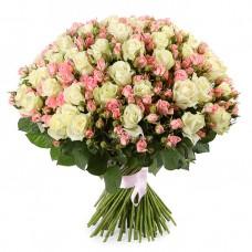101 Белая и Розовая роза Аваланч и Лидия