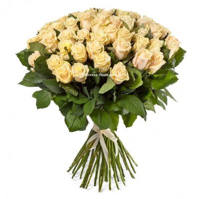 Букет из 51 кремовой розы - сорт Талея