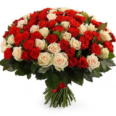 Букет из 101 розы микс - сорт Талея и Гран-При