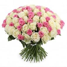 101 Белая и Розовая роза Аваланч и Аква