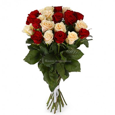 Букет из 21 розы микс - сорт Талея и Гран-При