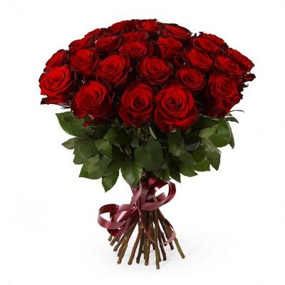 Букет красных роз сорт Гран-при 25 шт