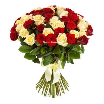 Букет из 51 розы микс - сорт Талея и Гран-При