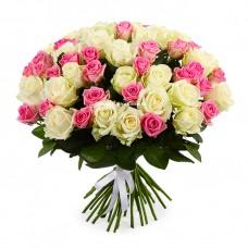 51 Белая и Розовая роза Аваланч и Аква