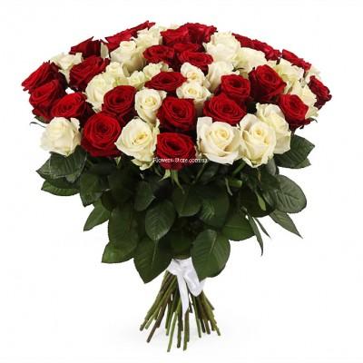 Букет 51 белая и розовая роза - сорт Аваланч и Аква