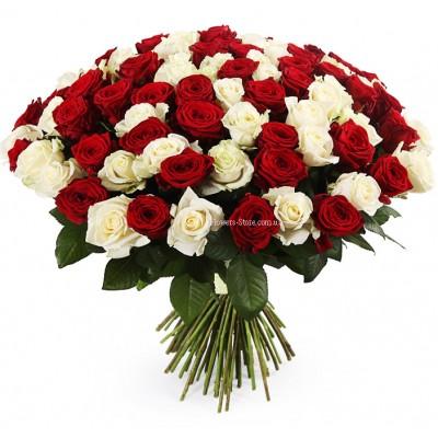 Букет из 101 розы микс - сорт Аваланч и Гран-При