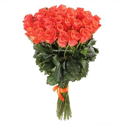 Букет 51 оранжевая роза - сорт Вау