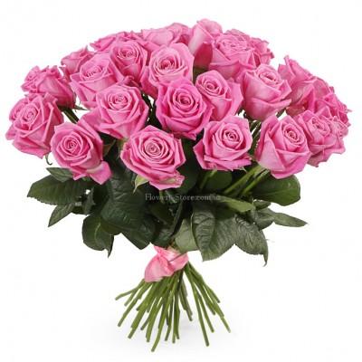 Букет их 35 розовых роз - сорт Аква