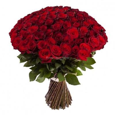 Букет 101 красная роза - сорт Гран-При