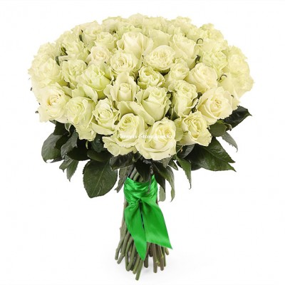 Букет 51 белая роза - сорт Мондиаль