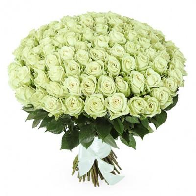 Букет 101 белая роза - сорт Вайт Наоми