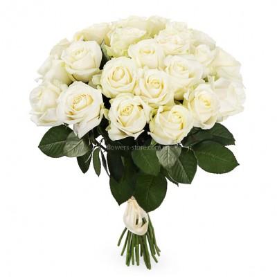 Букет из 25 белых роз - сорт аваланч