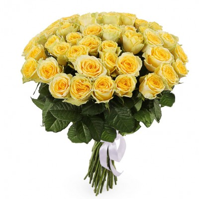 Букет из 51 желтой розы - сорт Пенни Лейн