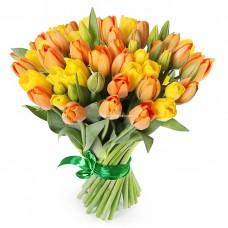 "51 желтый и оранжевый тюльпан - Букет ""Апельсинка"""